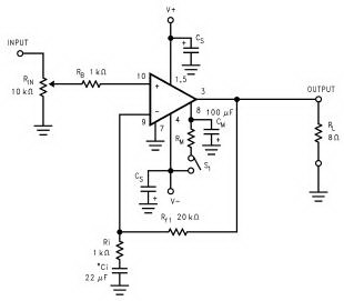 Schematic power amplifier with LM3886