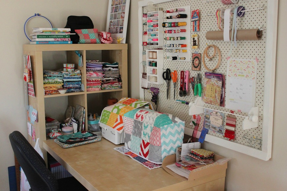 My sewing space sew delicious - Small space sewing area style ...