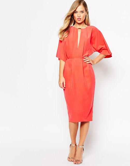 coral asos dress, coral midi dress,
