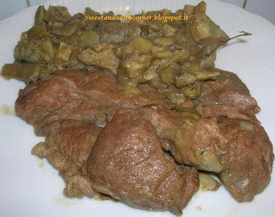 bistecca con contorno di carciofi e patate
