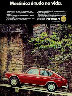 Propaganda Volks 1600 TL - 1970; os anos 70; brazilian cars in the 70s; Oswaldo Hernandez; década de 70;