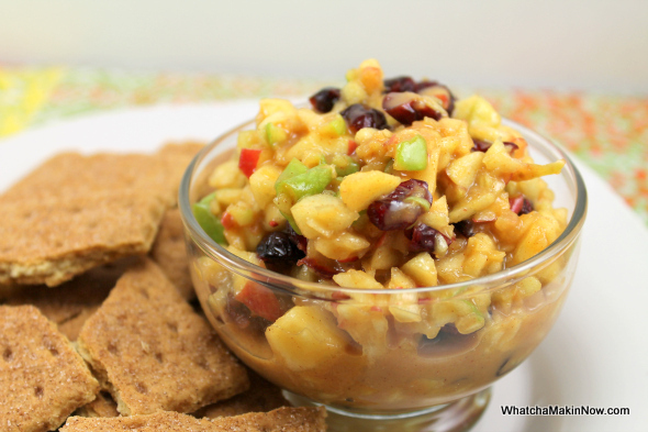 Caramel Apple Salsa - apples, cranberries, and caramel ice cream topping from @whatchamakinnow