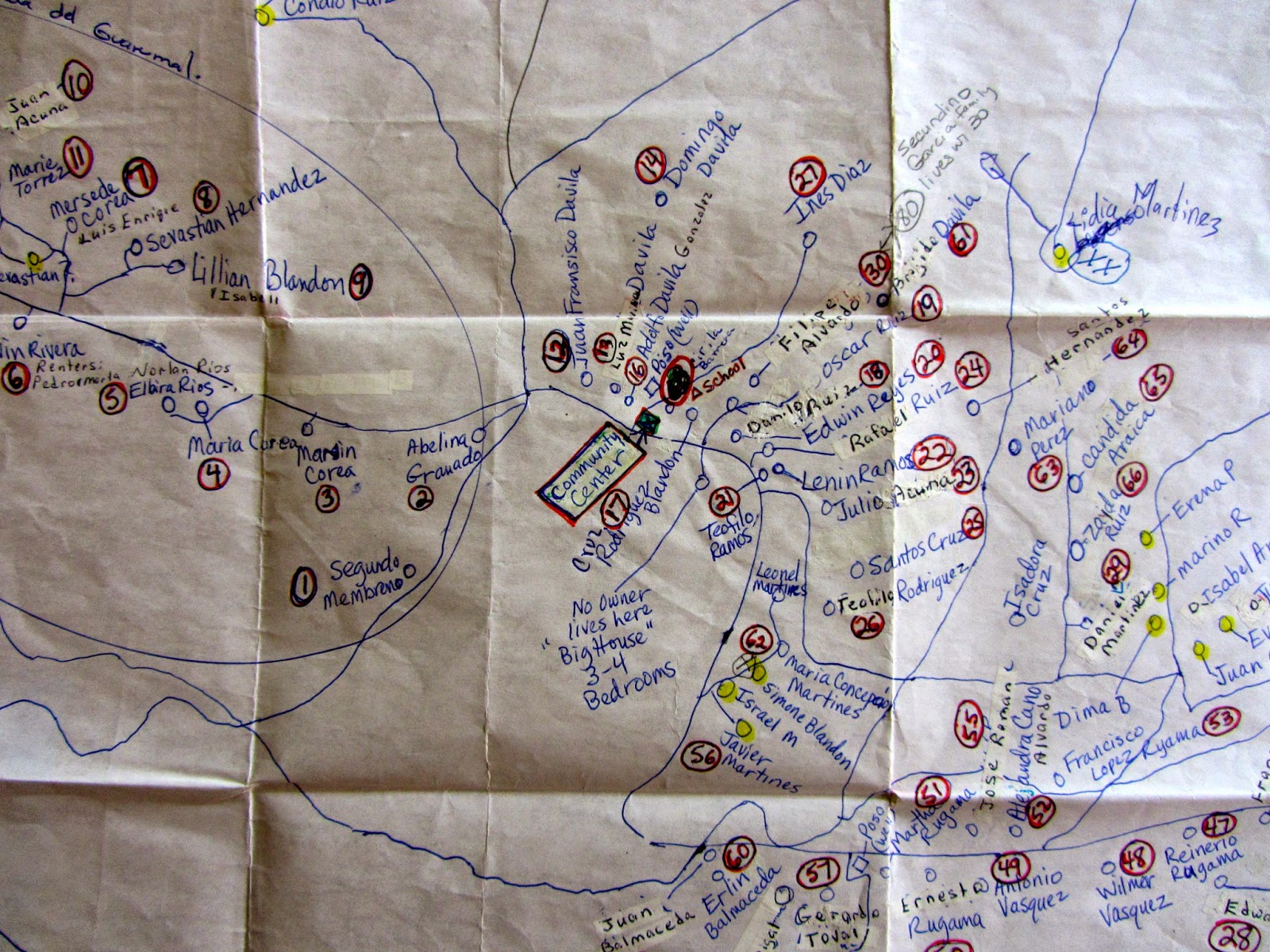the wonderful map of los pinos we used during our visit was put together during past wcc visits the new building site 21 homes is just to the left of the