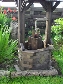 garden wishing well, DIY wooden well, garden ornament