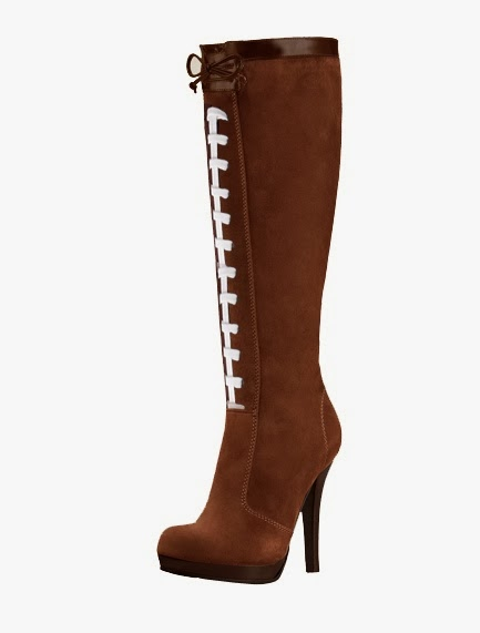 SHOES DIVA: MAKE A FASHION TOUCH DOWN IN  THESE PIGSKIN KNEE-HIGH HEELS FOOTBALL BOOTS- DivaSnap.com