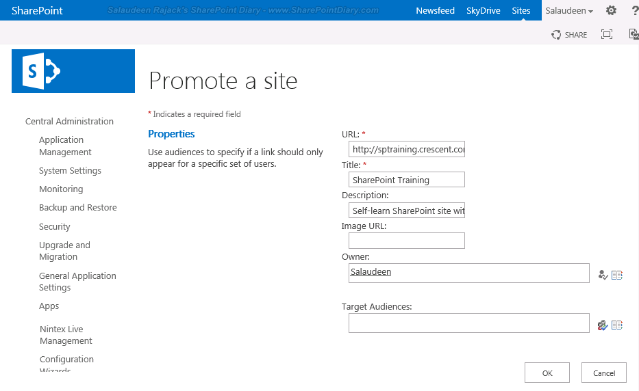 sharepoint 2013 mysite promoted sites