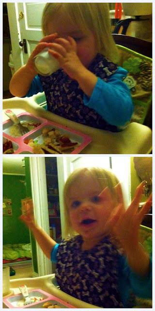 Ingrid 23 months, open cup excitement