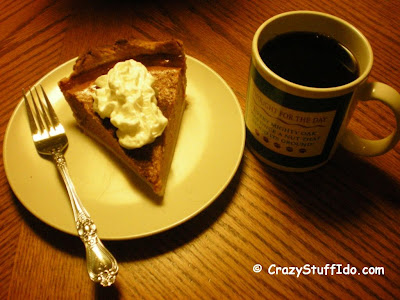 Nothing like warm pumpkin pie with whipped cream along with some hot coffee!