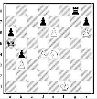 Estudio artístico de ajedrez compuesto por H. Rinck (Schackbladet, Viborg, 1907)