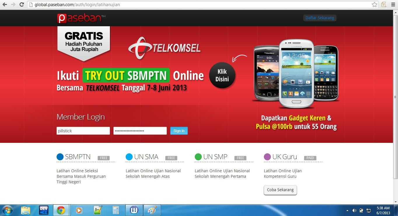 Screenshot Latihan SBMPTN online
