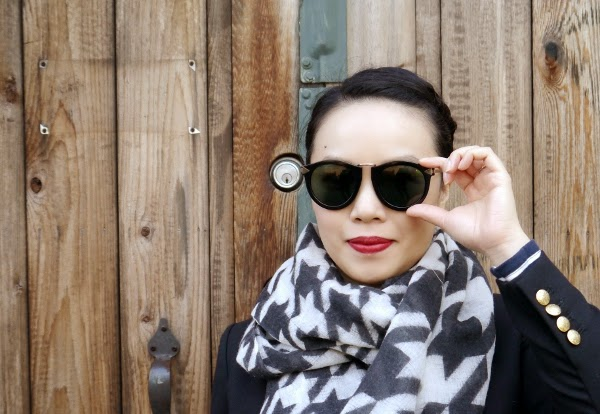 Red lip, houndstooth scarf and Karen Walker sunnies