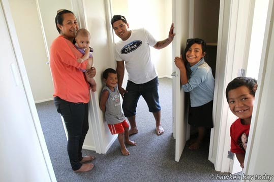 L-R: Kelly-Jo Kiripatea, Khaleece Kiripatea, 5 months, Judas Kiripatea, 4, Albert Kiripatea, Oriwia Kiripatea, 10, AJ Kiripatea, 7 - a family who will be moving into a four bedroom Habitat for Humanity home in Napier. photograph