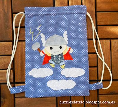 Thor, dios del trueno, patchwork, handmade, hecho a mano, bolsa de merienda, mochila, mochila para niños, mitología nórdica, Mjolnir, puzzles de tela