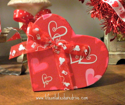Valentine's Day vignette, Dollar Tree gift box decor
