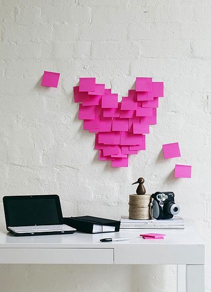 valentine's day crafty ideas, post it wall decor, heart