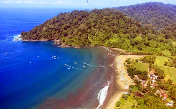 Keindahan Pantai Rajegwesi Banyuwangi dilihat dari udara.