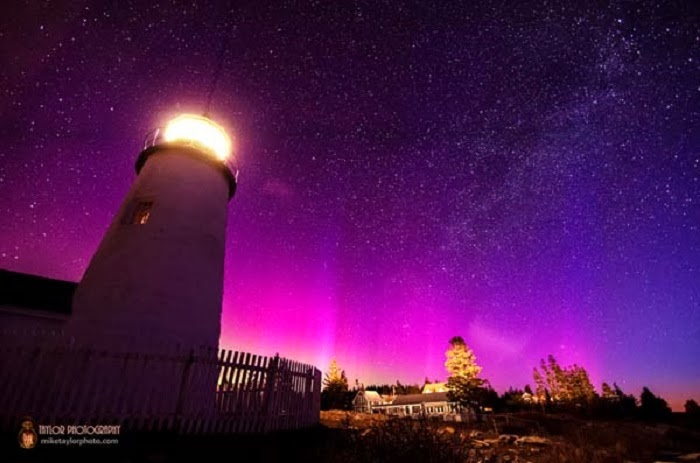On St. Patrick's Day 2013, he took a photo of the Northern Lights from a local lighthouse in Maine.