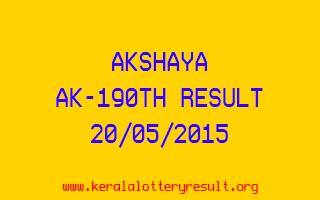 Akshaya AK 190 Lottery Result 20-5-2015