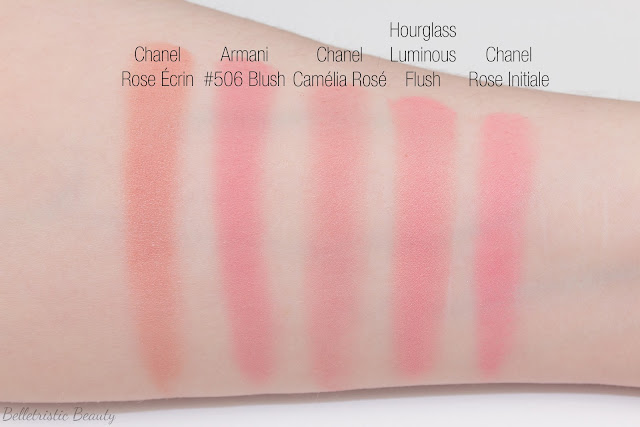 Chanel Jardin de Chanel Blush Camélia Rosé swatch comparison, Rêverie Parisienne Spring 2015 Collection