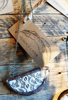 Heron and Lamb handcrafted lace necklace