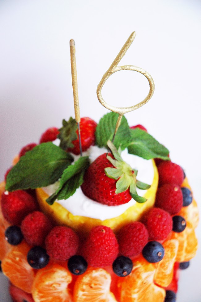 Pen Paper Flowers Make It Fresh Fruit Birthday Cake Mini Cakelets