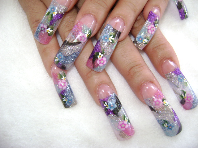 Fingernail designs long nails long nail art designs for Acrylic nail decoration