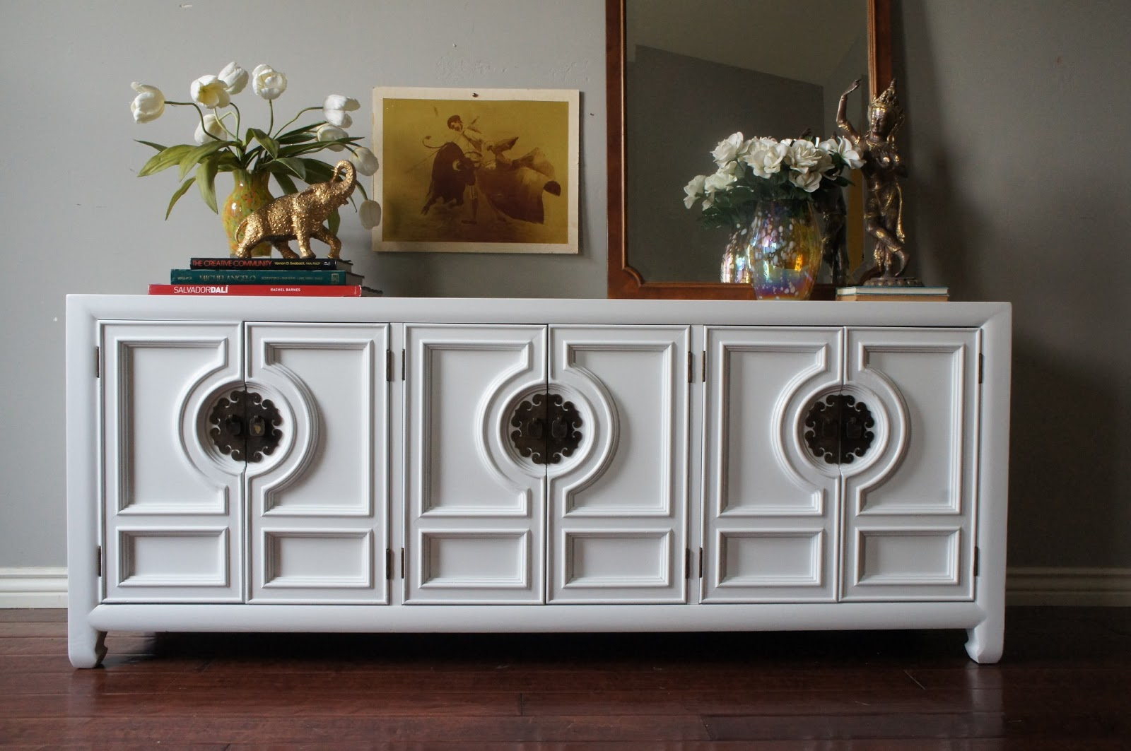 hollywood regency glossy lacquered console
