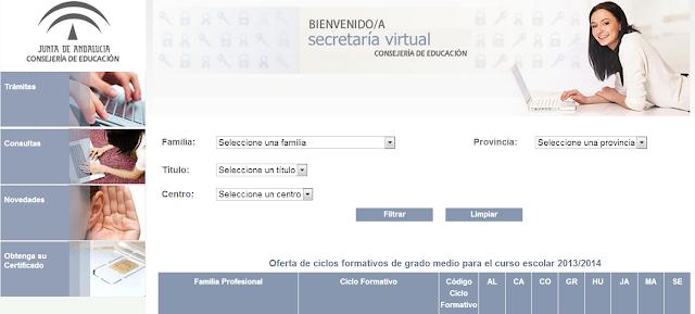 En la imagen se puede ver la página de consulta de ciclos formativos con ventanas desplegables según preferencias