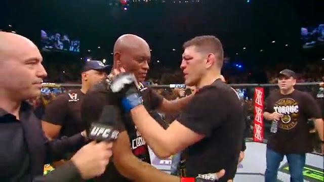 Anderson Silva Nick Diaz hug UFC 183