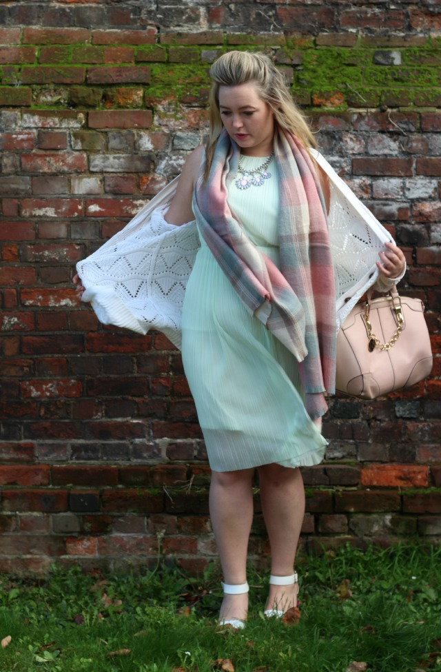 miss selfridge, mint crepe sleeveless midi dress, pastel chequered scarf, primark, silver pastel costume necklace, river island pink chain bag, primark white block heeled sandals wide fit, autumn, pastel, outfit, style, fashion, primark cream granddad cardigan,
