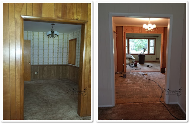 Before and After the Dining Room wall comes down.