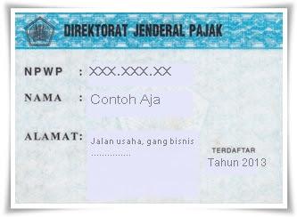 Contoh Kartu NPWP Pajak
