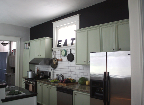 17 apart reveal our gray walls for Accent wall color ideas for kitchen