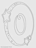 Mewarnai Gambar Huruf Alfabet O Bergaya Bulan Bintang