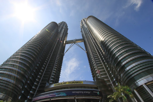 A close-up view of Petronas Twin Towers which is known as one of the world's tallest buildings in Kuala Lumpur, Malaysia