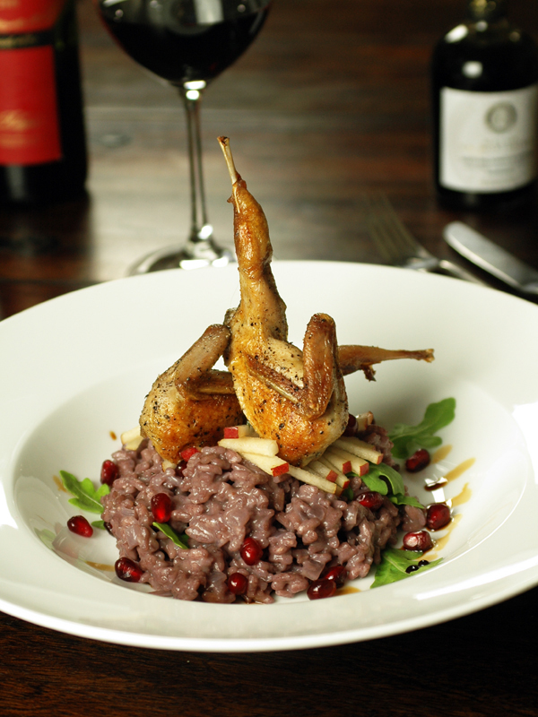 37 Cooks: Pan-Seared Quail & Red Wine Risotto with Arugula, Anjou Pear ...