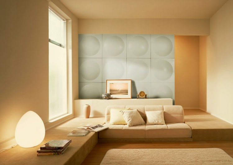 3D wall paneling: Illuminated and bright 3D wall panel