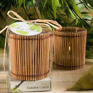 Porta velas de bamboo