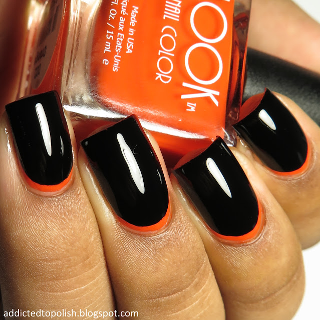 black orange halloween ruffian manicure