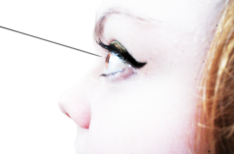 sticking a needle in your eye