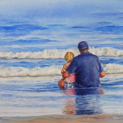 Watercolor custom painting of a girl and her grandfather at the beach