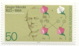 stamp showing Mendel and chart