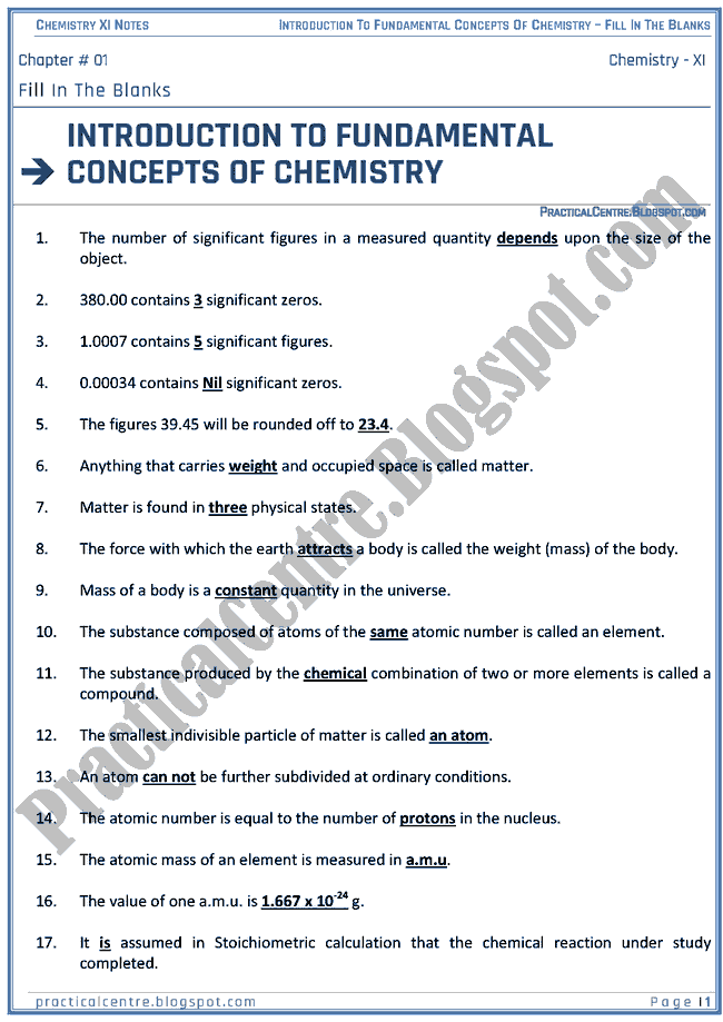 Introduction To Fundamental Concepts Of Chemistry - Blanks - Chemistry XI