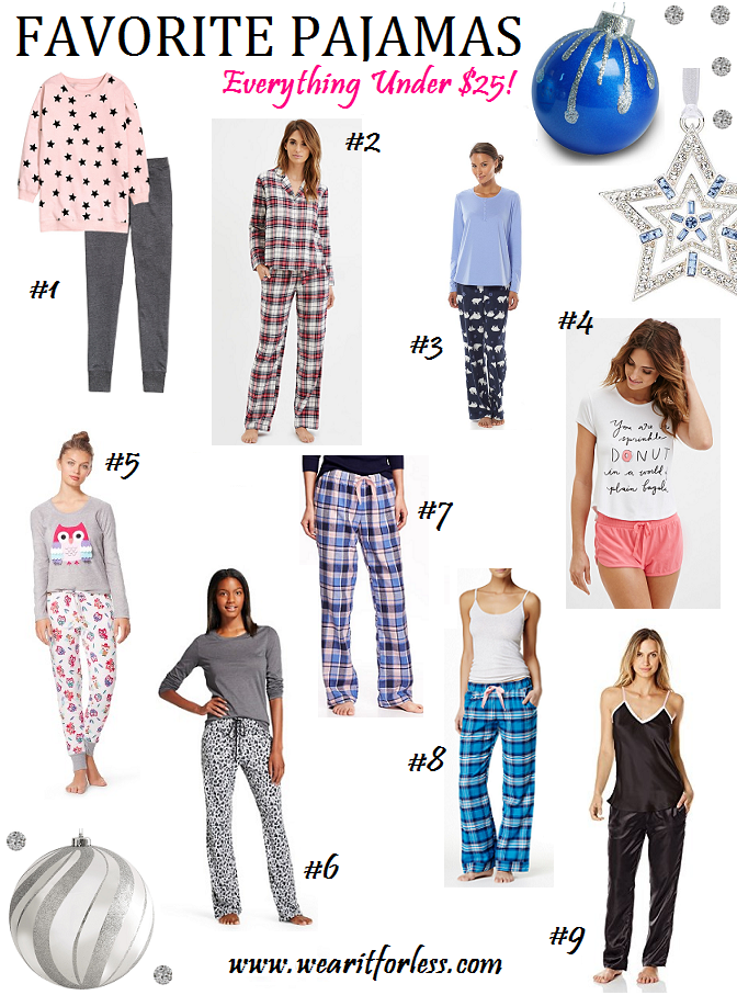 H&M Jersey Pajamas //  Forever 21 Flannel PJ Set // Sonoma Pajamas // Forever 21 Donut PJ Set // Target Owl Pajamas // Gillian O'Malley Pajama Set // Old Navy Pajama Pants - only $7! // Free Press Flannel Pajamas // Bottoms Out Satin Pajamas