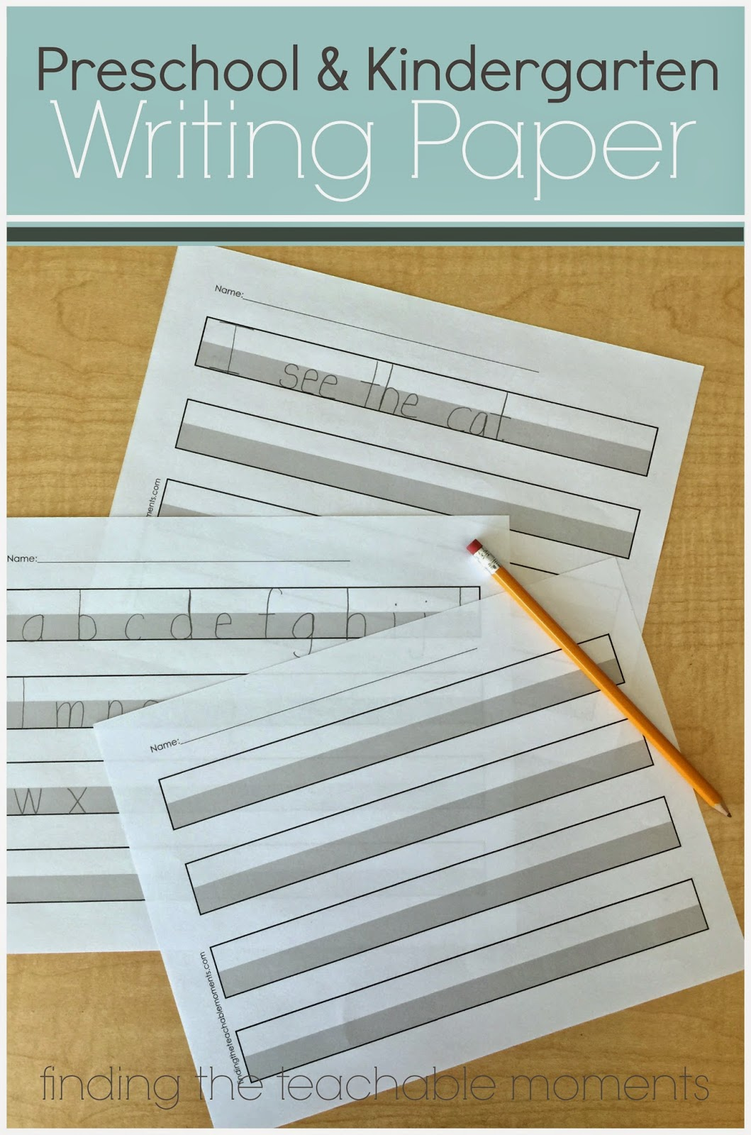 FREE printable handwriting paper for Preschool or Kindergarten