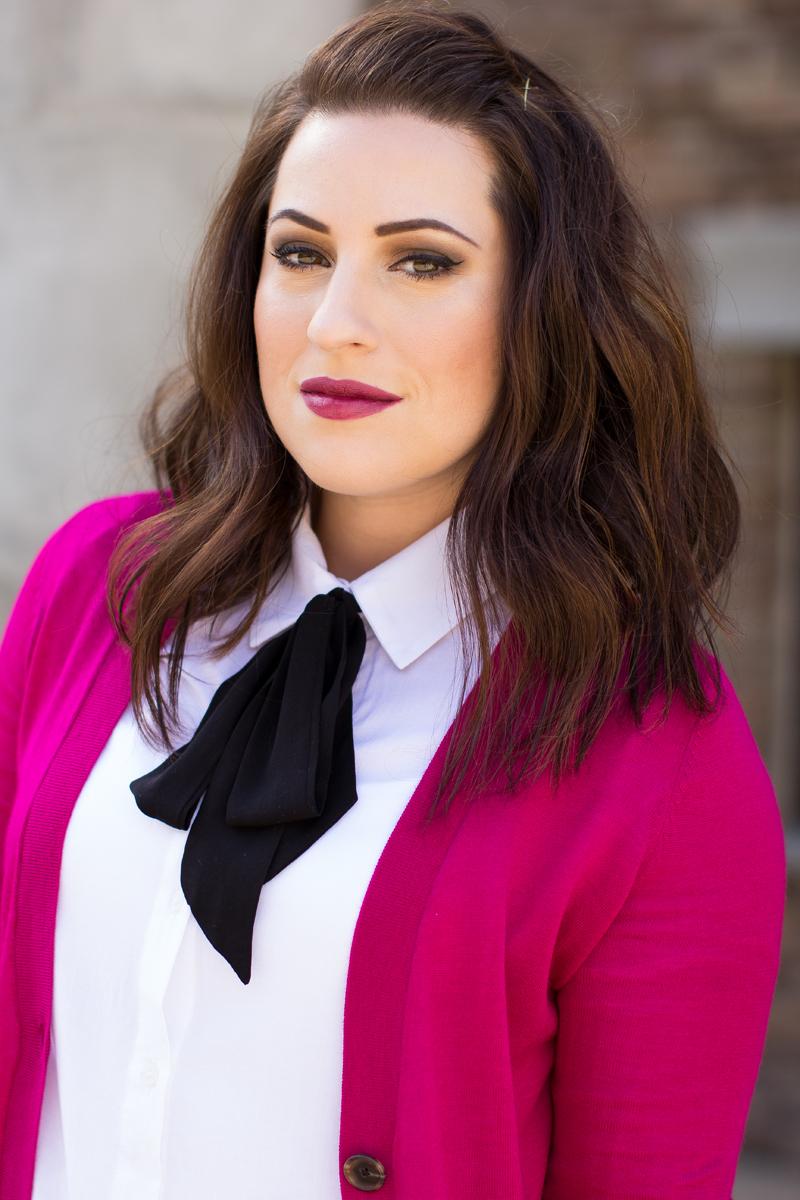 mac media lipstick, tie neck shirt