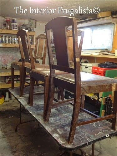 Vintage Dining Table chairs Before Makeover
