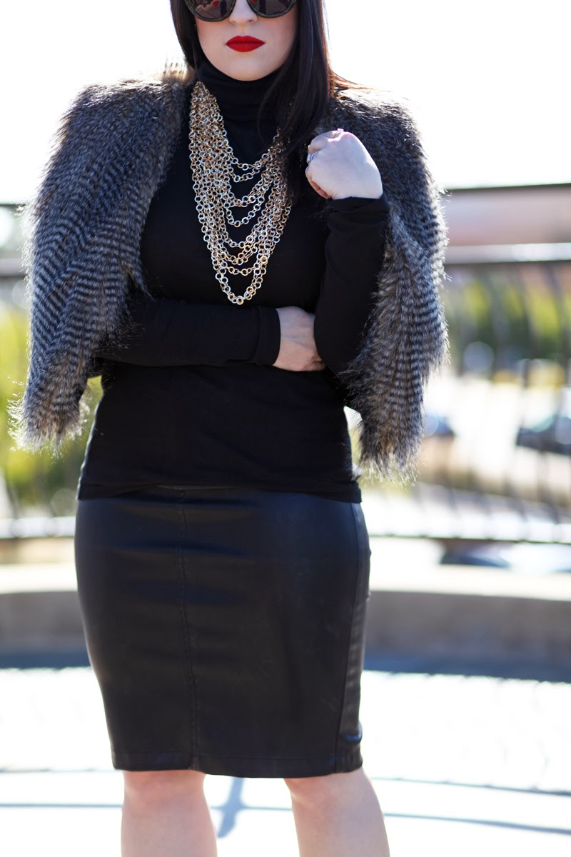 faux-fur-vest-gold-chains-faux-leather-pencil-skirt-stila-fiery-lipstick-king-and-kind-blog