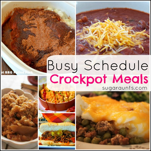 Slow Cooker meal ideas for busy families.  Throw everything in the crockpot before the kids get up and dinner is done!
