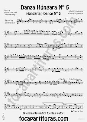 Tubepartitura Danza Húngara nº 5 Partitura de Saxofón Alto y Saxofón Barítono de Johannes Brahms